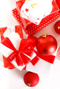 Gift boxes and christmas balls,Isolated on white. Royalty Free Stock Photo