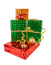 Gift boxes and christmas balls, isolated on white Royalty Free Stock Photo
