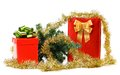 Gift boxes with christmas tree and tinsel white background Royalty Free Stock Image