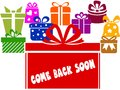 Gift boxes with COME BACK SOON text.