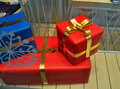 Gift boxes decorated with bows Royalty Free Stock Photo