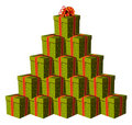 Gift boxes forming a Christmas tree Stock Photo