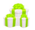 Gift boxes with green bow isolated on white background Stock Photo