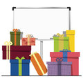Gift boxes illustration of and a white board Royalty Free Stock Images