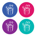 Gift boxes on light background set of colorful icons of vector version Royalty Free Stock Photos