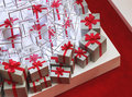 Gift boxes a pile of in shopping mall Royalty Free Stock Photography