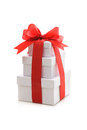 Gift boxes with red ribbon and bow Stock Photography