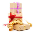 Gift boxes  with a ribbon Royalty Free Stock Image