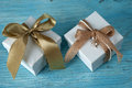 Gift boxes with ribbon Royalty Free Stock Photo