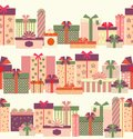 Gift boxes seamless horizontal border pattern Royalty Free Stock Photo