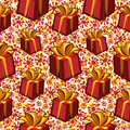 Gift boxes seamless pattern. Stock Photography