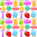 Gift boxes seamless pattern background with colorful polka dot Stock Images