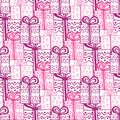 Gift boxes seamless pattern seamless happy birthday or ceebration background texture with doodle Stock Images