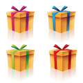 Gift boxes set illustration of colorful cardboard Stock Photography