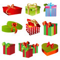Gift boxes set of nine cute box isolated on white background Stock Photos