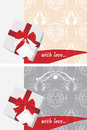 Gift boxes with tag and bow. Backgrounds Royalty Free Stock Photography