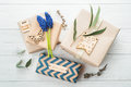 Gift Boxes with Tag Love Royalty Free Stock Photo