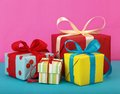 Gift boxes variety of bright Royalty Free Stock Images