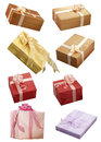Gift boxes on white background isolated Stock Photos