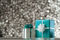 Gift boxes white and red on black white bokeh background Royalty Free Stock Photos