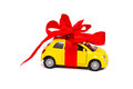 A gift. Car with a red bow Royalty Free Stock Photo