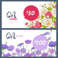 Gift card with colorful flowers Royalty Free Stock Photo