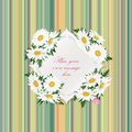 Gift card with copy space and flower bouquet chamomile background over vintage seamless striped pattern Stock Photo