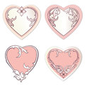 Gift card with copy space love heart label set greeting card promotional sticker abstract white vintage vector Royalty Free Stock Photos