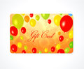 Gift card discount card business card balloon bright template layout with colorful balloons yellow red green orange colors Stock Images