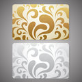Gift card discount card business card scroll or with floral shape gold silver pattern background design for coupon voucher Royalty Free Stock Photos