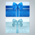Gift card discount card scroll pattern bow blue turquoise business with floral swirl tracery ribbon background design for Stock Photo
