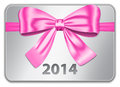 Gift card with nice pink bow ribbon vector illustration Royalty Free Stock Image