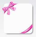 Gift card nice with pink ribbon and bow vector illustration Stock Photography