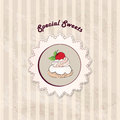 Gift card with pastry muffin on napkin in retro s tea cup and pot label vintage style floral seamless victorian pattern party Royalty Free Stock Photos