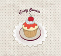 Gift card with pastry muffin on napkin in retro style over polka dot seamless pattern sweets set tea time vintage label vintage Royalty Free Stock Photos