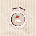 Gift card with pastry muffin on napkin in retro style over polka dot seamless pattern sweets set vintage cupcake backgr tea cup Royalty Free Stock Photos