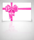 Gift card with pink ribbon luxurious bow on gray background vector illustration Stock Image