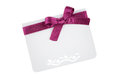 Gift card with pink ribbon on white background Stock Image