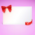 Gift card with red ribbon and bow vector illustration nice Stock Image