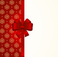 Gift Card with Red Satin Gift Bow, has space for text on background.