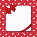 Gift card with ribbon red and luxurious bow vector illustration Royalty Free Stock Image