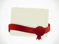 Gift card and ribbon white with rosette Stock Image