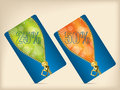 Gift card set with blue orange and green colors Stock Photo