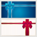 Gift card template with corrugated texture border and blue and red bow ribbons this background design usable for gift voucher Stock Photos