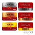 Gift card templates. Vector design polygonal plastic cards with bar code. Vector Royalty Free Stock Photo
