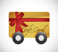 Gift card and wheels illustration design over a white background Royalty Free Stock Photography