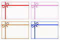 Gift Cards with Colored Ribbons, Note Card, Set Royalty Free Stock Photography