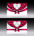 Gift cards with heart geometric pattern red bow ri ribbon silver color Stock Photos