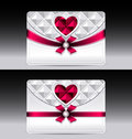Gift cards with heart geometric pattern red bow ri ribbon silver color Royalty Free Stock Photography