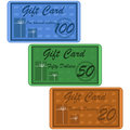 Gift cards illustration of retro style for twenty fifty or one hundred dollars Stock Photo